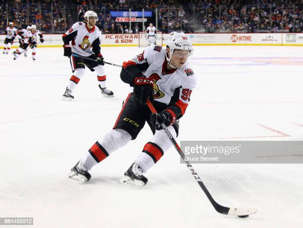 Matt Duchene of the Ottawa Senators skates against the New York Islanders at the Barclays Center on December 1 2017 in the Brooklyn borough of New...