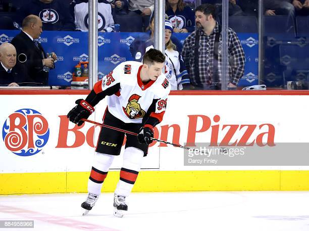 Matt Duchene of the Ottawa Senators takes part in the pregame warm up prior to NHL action against the Winnipeg Jets at the Bell MTS Place on December...