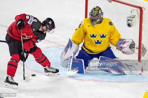 Matt Duchene tries to score against Goalie Henrik Lundqvist during the Ice Hockey World Championship Gold medal game between Canada and Sweden at...
