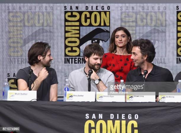 Matt Duffer Ross Duffer Natalia Dyer Shawn Levy attend Netflix's 'Stranger Things' panel during ComicCon International 2017 at San Diego Convention...