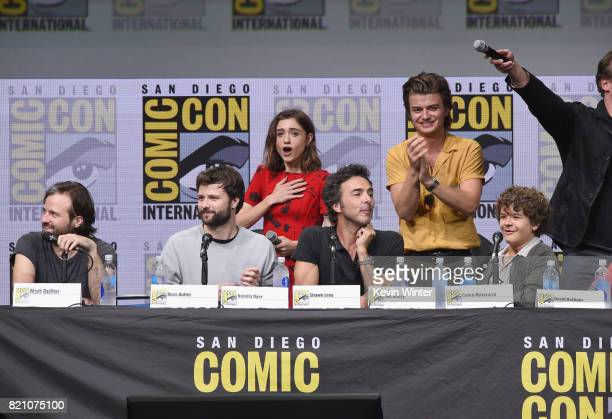 Matt Duffer Ross Duffer Natalia Dyer Shawn Levy Joe Keery Gaten Matarazzo attend Netflix's 'Stranger Things' panel during ComicCon International 2017...