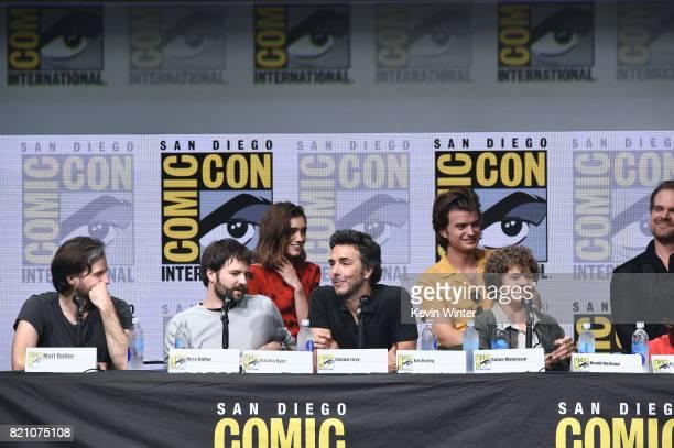 Matt Duffer Ross Duffer Natalia Dyer Shawn Levy Joe Keery Gaten Matarazzo attend Netflix's 'Stranger Things' panel during ComicCon International 2017...