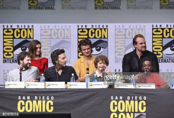 Matt Duffer Ross Duffer Natalia Dyer Shawn Levy Joe Keery Gaten Matarazzo David Harbour Caleb McLaughlin attend Netflix's 'Stranger Things' panel...