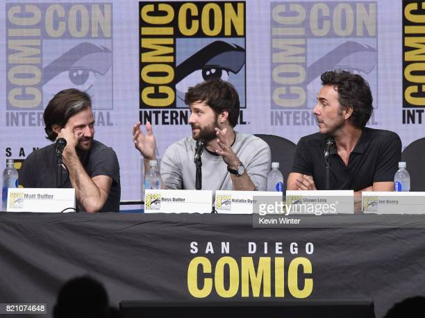 Matt Duffer Ross Duffer Shawn Levy attend Netflix's 'Stranger Things' panel during ComicCon International 2017 at San Diego Convention Center on July...