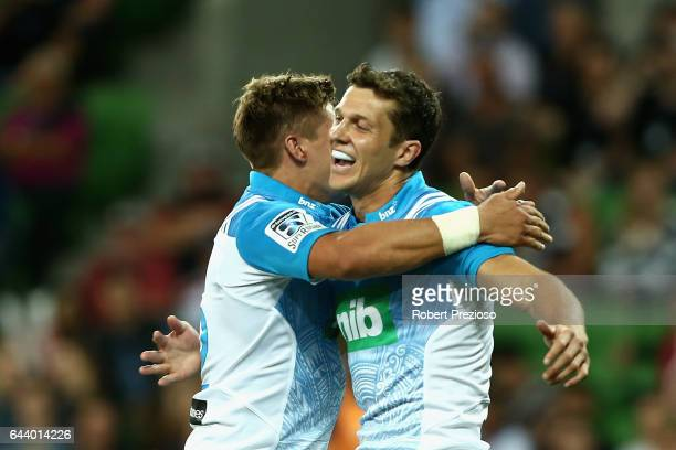 Matt Duffie of the Blues celebrates after scoring a try during the round one Super Rugby match between the Melbourne Rebels and the Auckland Blues at...