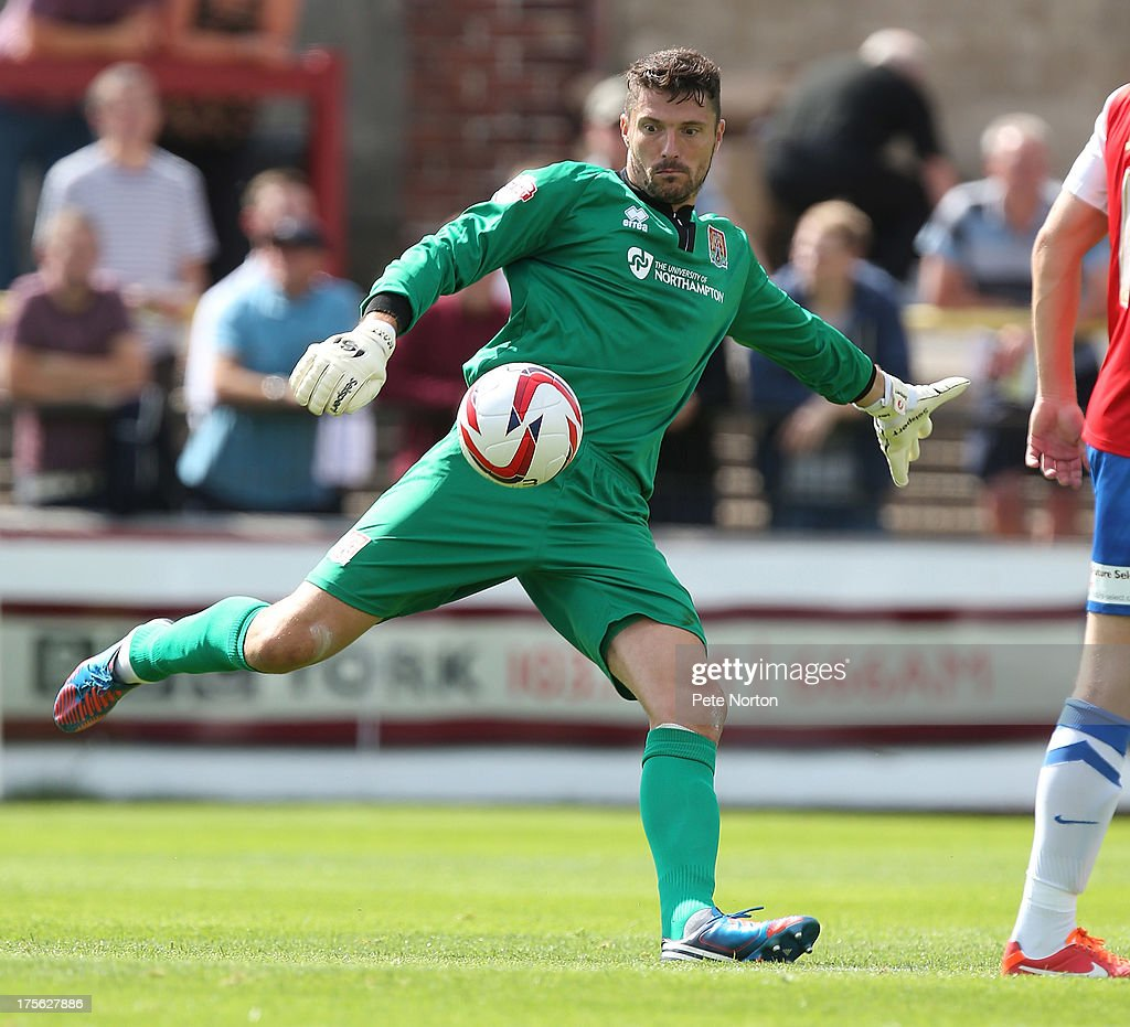Matt Duke of Northampton Town in action during the Sky Bet League Two match between York City and Northampton Town at Bootham Crescent on August 3, 2013 in York, England.