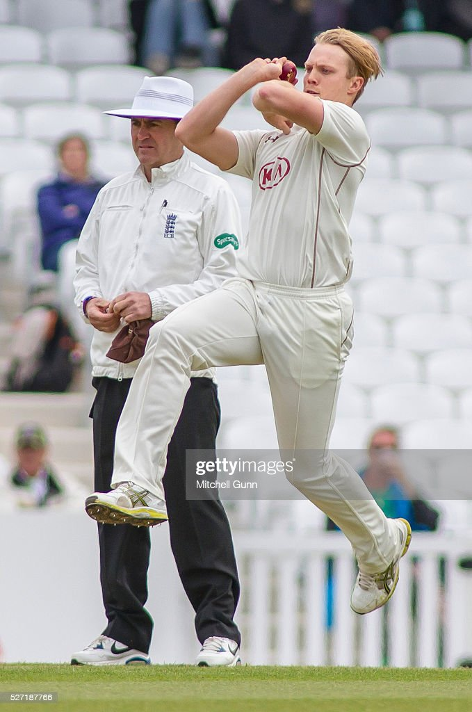 Matt Dunn of Surrey bowling during the Specsavers County Championship Division One match between Surrey and Durham at the Kia Oval Cricket Ground, on May 02, 2016 in London, England.