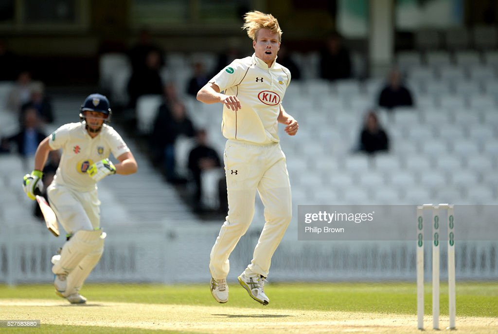 Matt Dunn of Surrey looks on during day three of the Specsavers County Championship Division One match between Surrey and Durham at the Kia Oval on May 3, 2016 in London, England.