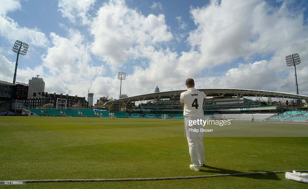 Matt Dunn on the boundary during day two of the Specsavers County Championship Division One match between Surrey and Durham at the Kia Oval on May 2, 2016 in London, England.