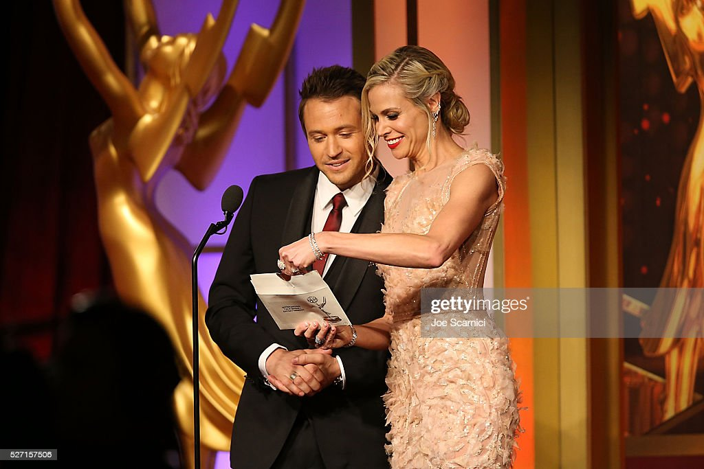 Matt Duran (L) and <a gi-track='captionPersonalityLinkClicked' href=/galleries/search?phrase=Brooke+Burns&family=editorial&specificpeople=202626 ng-click='$event.stopPropagation()'>Brooke Burns</a> present the award for Outstanding Entertainment Talk Show at the 2016 Daytime Emmy Awards at Westin Bonaventure Hotel on May 1, 2016 in Los Angeles, California.