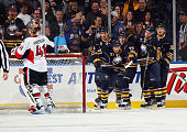 Matt Ellis of the Buffalo Sabres celebrates his goal at 225 of the first period against Craig Anderson of the Ottawa Senators at the First Niagara...