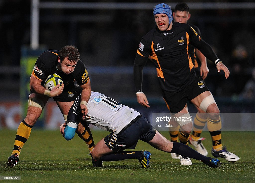 Matt Everard of London Wasps is tackled during the LV= Cup match between London Wasps and Worcester Warriors at Adams Park on November 18, 2012 in High Wycombe, England.