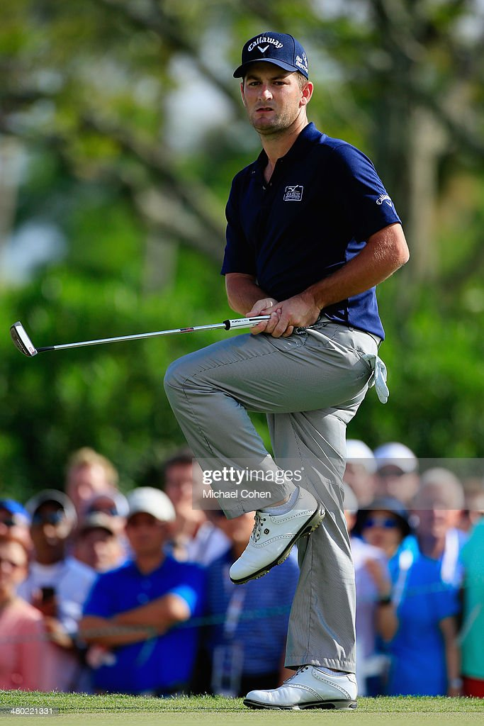 <a gi-track='captionPersonalityLinkClicked' href=/galleries/search?phrase=Matt+Every&family=editorial&specificpeople=2344163 ng-click='$event.stopPropagation()'>Matt Every</a> of the United States reacts to a missed putt for birdie on the 14th hole during the final round of the Arnold Palmer Invitational presented by MasterCard at the Bay Hill Club and Lodge on March 23, 2014 in Orlando, Florida.
