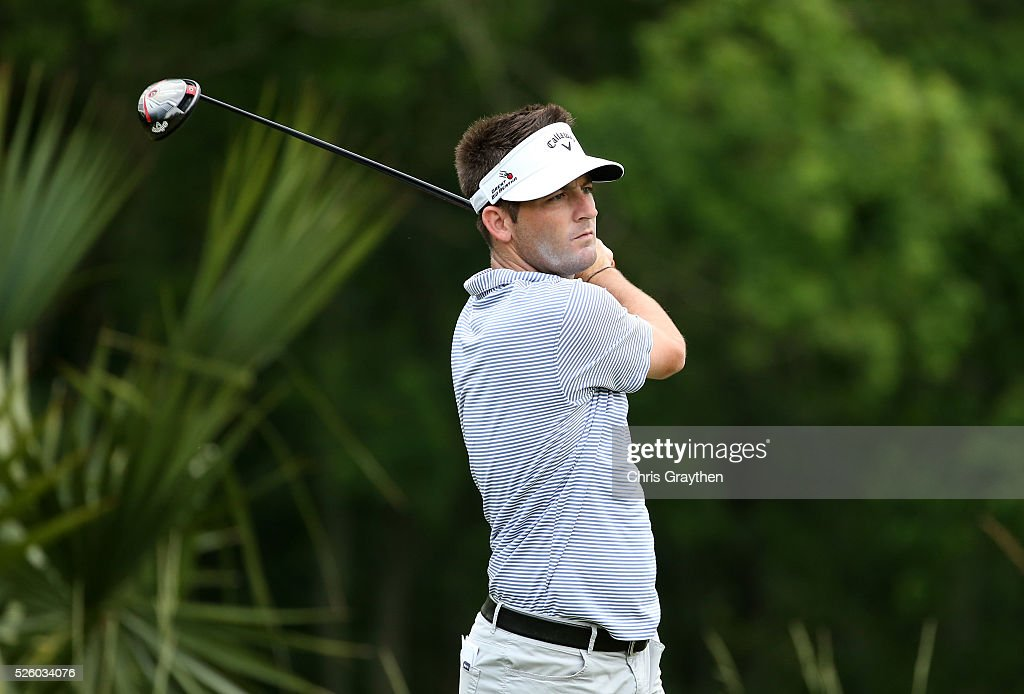 Matt Every tees off on the 11th hole during a continuation of the first round of the Zurich Classic of New Orleans at TPC Louisiana on April 29, 2016 in Avondale, Louisiana.