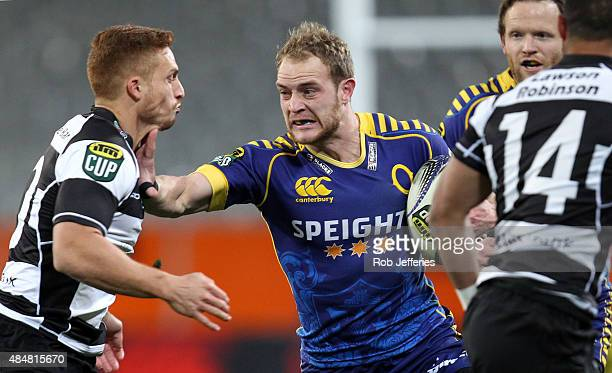 Matt Faddes of Otago puts in a Ihaia West of Hawke's Bay during the round two ITM Cup match between Otago and Hawkes Bay at Forsyth Barr Stadium on...