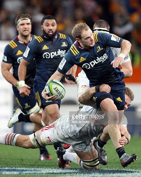 Matt Faddes of the Highlanders on the attack during the round 17 Super Rugby match between the Highlanders and the Chiefs at Forsyth Barr Stadium on...