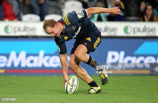 Matt Faddes of the Highlanders touches down for a try during the round three Super Rugby match between the Highlanders and the Lions at Rugby Park on...