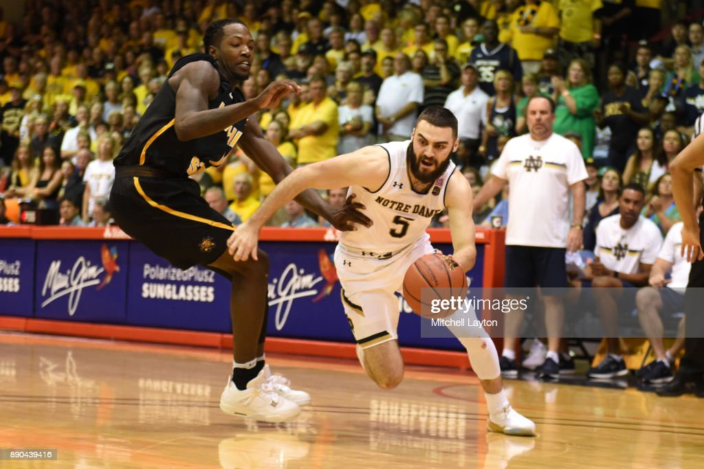 Matt Farrell #5 of the Notre Dame Fighting Irish dribbles the ball during a the championship of the Maui Invitational college basketball game against the Wichita State Shockers at the Lahaina Civic Center on November 22, 2017 in Lahaina, Hawaii. The Fighting Irish won 67-66.