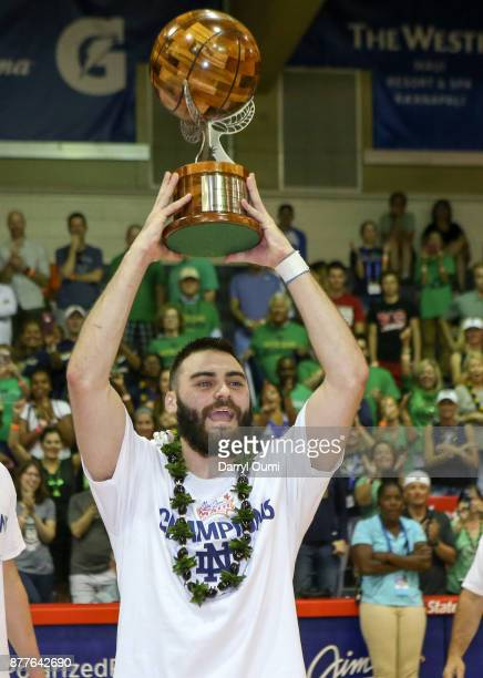 Matt Farrell of the Notre Dame Fighting Irish holds up the MVP trophy after winning the 2017 Maui Invitational at the Lahaina Civic Center on...