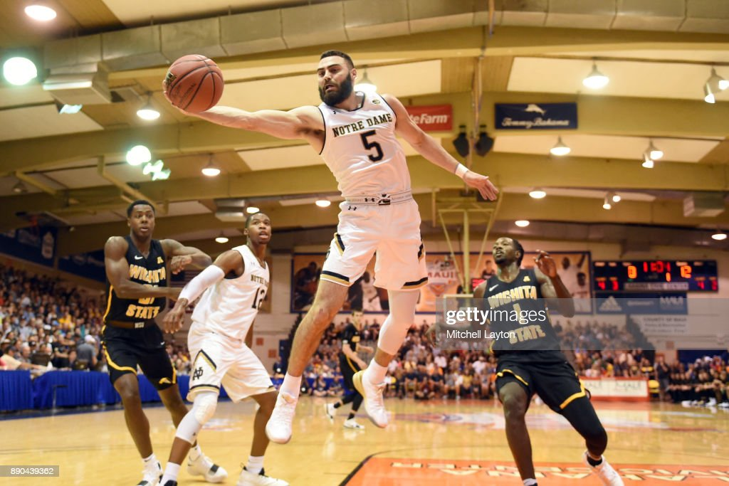 Matt Farrell #5 of the Notre Dame Fighting Irish keeps the ball in bounds during a the championship of the Maui Invitational college basketball game against the Wichita State Shockers at the Lahaina Civic Center on November 22, 2017 in Lahaina, Hawaii. The Fighting Irish won 67-66.
