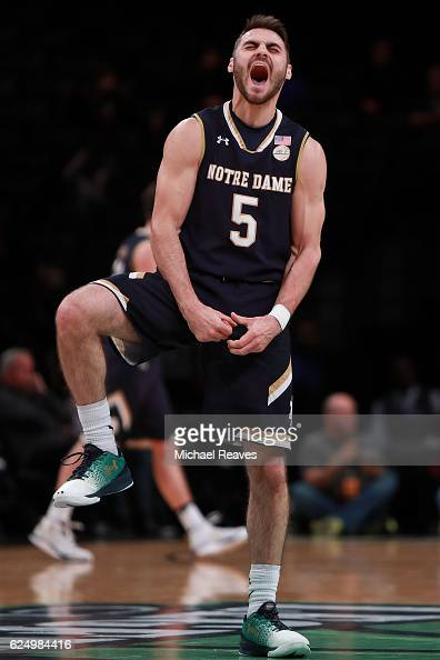 Matt Farrell of the Notre Dame Fighting Irish reacts against the Colorado Buffaloes in the first half of the 2016 Legends Classic at Barclays Center...
