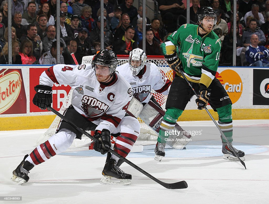 Matt Finn #4 of the Guelph Storm defends against the Val'Dor Foreurs in Game Four of the 2014 MasterCard Memorial Cup at Budweiser Gardens on May 19, 2014 in London, Ontario, Canada.