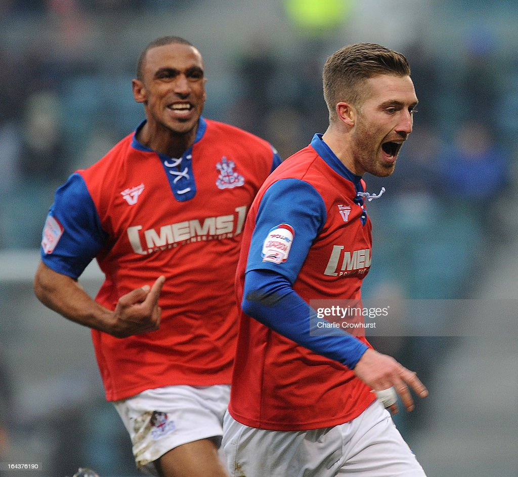 Matt Fish of Gillingham celebrates after he scores the first goal of the game during the npower League Two match between Gillingham and Accrington Stanley at The Priestfield Stadium on March 23, 2013 in Gillingham, England,
