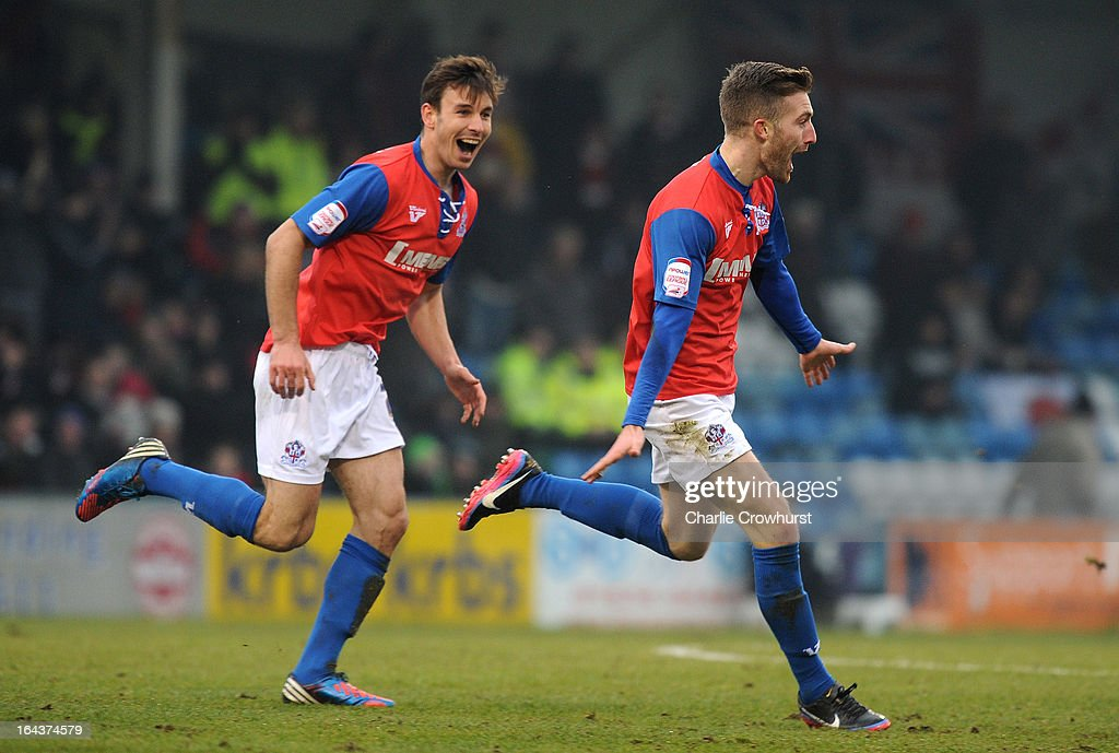 Matt Fish of Gillingham celebrates after scoring the first goal during the npower League Two match between Gillingham and Accrington Stanley at The Priestfield Stadium on March 23, 2013 in Gillingham, England,