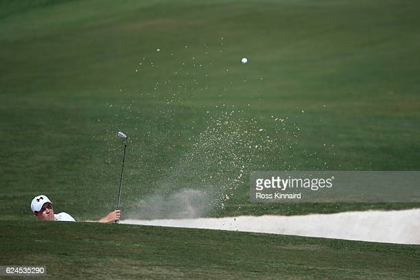 Matt Fitzpatrick of England hits his third shot on the 2nd hole during day four of the DP World Tour Championship at Jumeirah Golf Estates on...