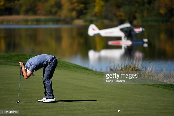 Matt Fitzpatrick of Europe reacts to a missed putt on the seventh green during singles matches of the 2016 Ryder Cup at Hazeltine National Golf Club...