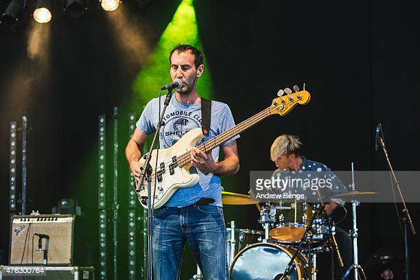Matt Flegel of Viet Cong performs on stage at Field Day Festival on June 7 2015 in London England
