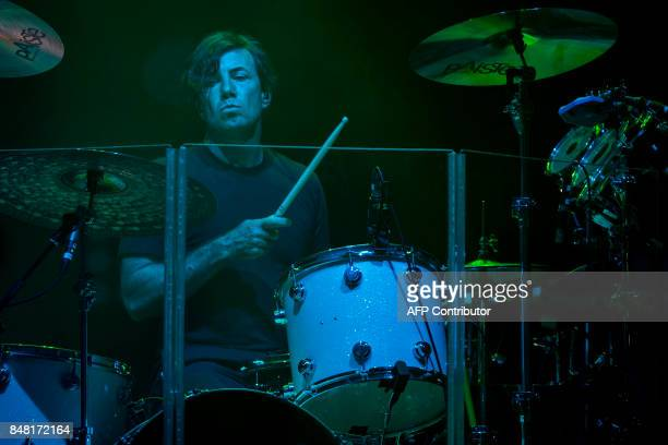 Matt Flynn of the American band Maroon 5 performs during the Rock In Rio Festival at the Olympic Park in Rio de Janeiro Brazil on September 16 2017 T...