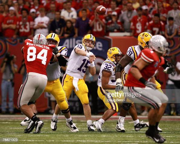 Matt Flynn of the Louisiana State University Tigers passes against the Ohio State Buckeyes during the AllState BCS National Championship on January 7...