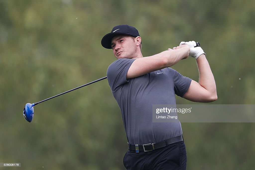 Matt Ford of England plays a shot during the second round of the Volvo China open at Topwin Golf and Country Club on April 28, 2016 in Beijing, China.