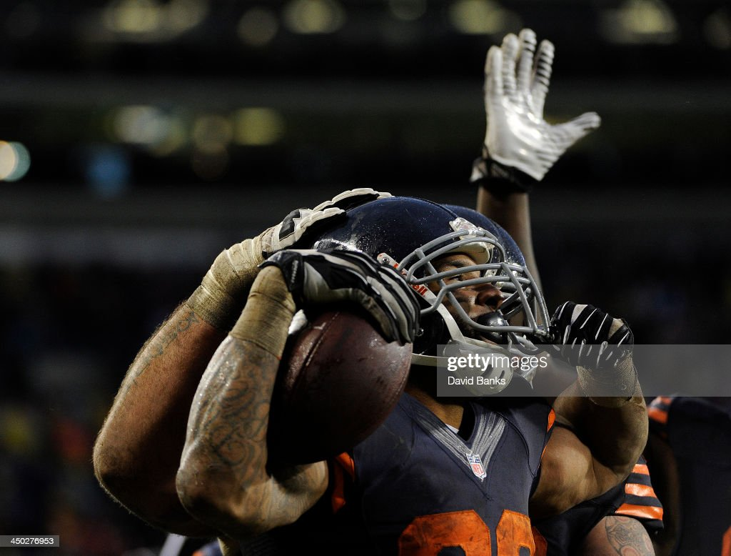 Matt Forte #22 of the Chicago Bears after scoring a touchdown against the Baltimore Ravens during the fourth quarter on November 17, 2013 at Soldier Field in Chicago, Illinois. The Chicago Bears defeated the Baltimore Ravens 23-20 in overtime.