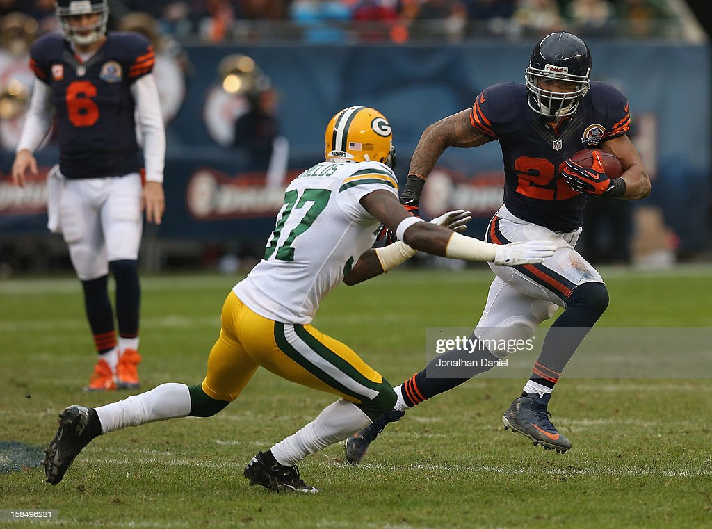 Matt Forte #22 of the Chicago Bears runs against Sam Shields #37 of the Green Bay Packers at Soldier Field on December 16, 2012 in Chicago, Illinois. The Packers defeated the Bears 21-13.