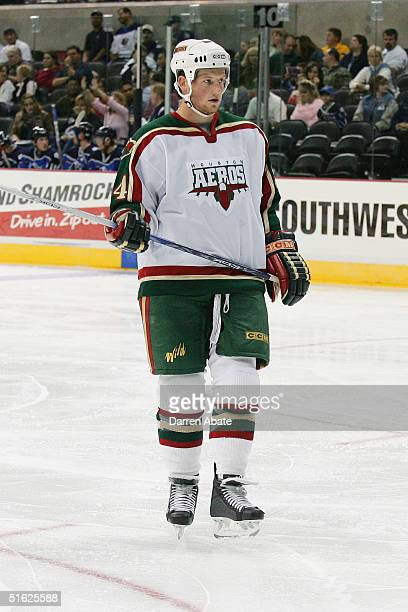 Matt Foy of the Houston Aeros skates into position for the faceoff during an AHL game against the San Antonio Rampage at the SBC Center San Antonio...