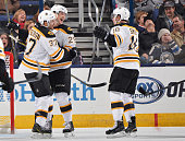 Matt Fraser of the Boston Bruins celebrates his third period goal with teammates Patrice Bergeron and Reilly Smith of the Boston Bruins during a game...