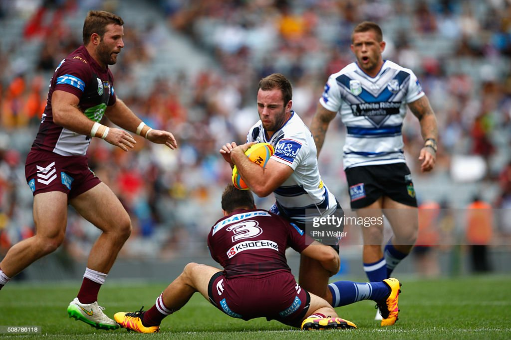Matt Frawley of the Bulldogs is tackled during the 2016 Auckland Nines match between the Bulldogs and the Sea Eagles at Eden Park on February 7, 2016 in Auckland, New Zealand.