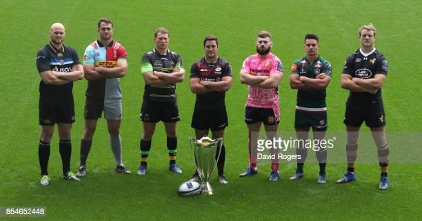Matt Garvey of Bath Rugby James Horwill Harlequins Dylan Hartley Northampton Saints Brad Barritt Saracens Luke CowanDickie Exeter Chiefs Matt Toomua...