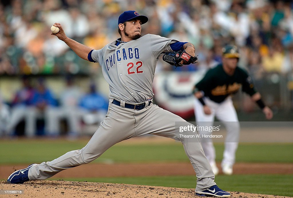 <a gi-track='captionPersonalityLinkClicked' href=/galleries/search?phrase=Matt+Garza&family=editorial&specificpeople=835829 ng-click='$event.stopPropagation()'>Matt Garza</a> #22 of the Chicago Cubs pitches against the Oakland Athletics at O.co Coliseum on July 3, 2013 in Oakland, California.