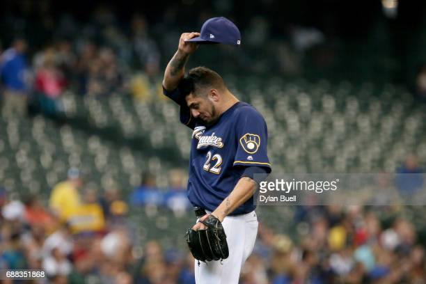 Matt Garza of the Milwaukee Brewers walks across the mound in the sixth inning against the Toronto Blue Jays at Miller Park on May 24 2017 in...