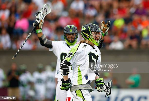 Matt Gibson of the New York Lizards reacts following his goal in the first half against the Boston Cannons during the game at Harvard Stadium on July...