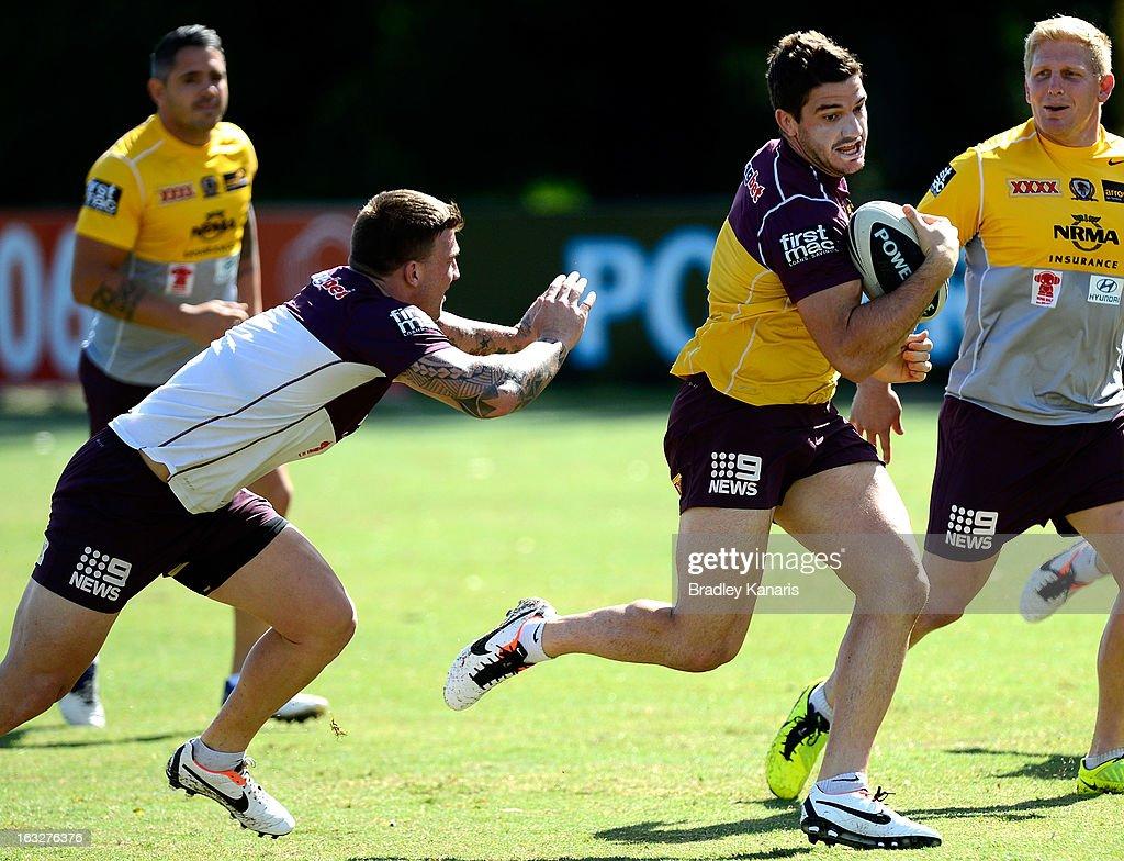 Matt Gillett breaks free from the defence during a Brisbane Broncos NRL training session on March 7, 2013 in Brisbane, Australia.