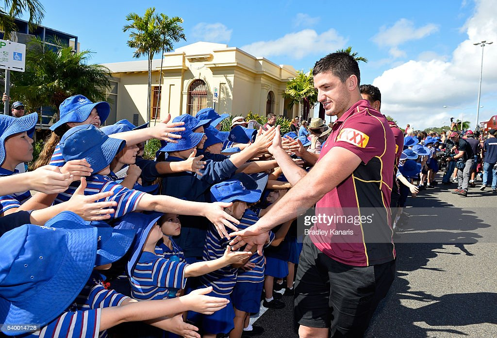 Matt Gillett high fives the fans during a Queensland Maroons State of Origin Fan Day on June 14, 2016 in Gladstone, Australia.