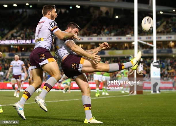 Matt Gillett of the Broncos celebrates scoring the final try during the round 16 NRL match between the Canberra Raiders and the Brisbane Broncos at...