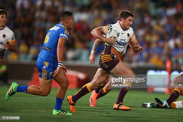 Matt Gillett of the Broncos runs the ball during the round one NRL match between the Parramatta Eels and the Brisbane Broncos at Pirtek Stadium on...
