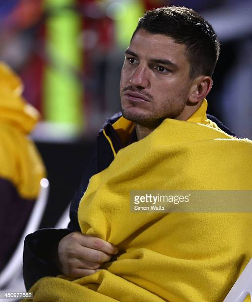 Matt Gillett of the Broncos sits injured on the bench during the round 15 NRL match between the New Zealand Warriors and the Brisbane Broncos at Mt...