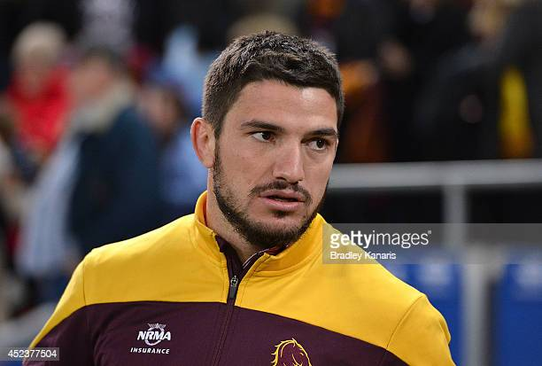 Matt Gillett of the Broncos watches on during the round 19 NRL match between the Brisbane Broncos and the New Zealand Warriors at Suncorp Stadium on...