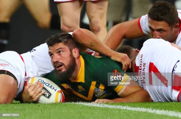 Matt Gillett of the Kangaroos scores a try during the 2017 Rugby League World Cup match between the Australian Kangaroos and England at AAMI Park on...